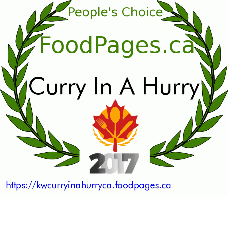Curry In A Hurry FoodPages.ca 2017 Award Winner